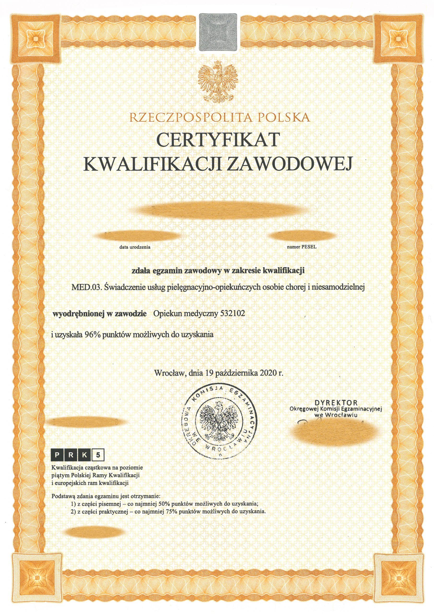 Certyfikat OKE